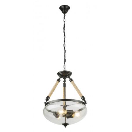Подвесная люстра Globo Ulleu 69029-3H, 3xE27x60W, канат, металл, стекло