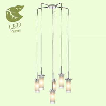 Люстра-каскад Lussole LGO Leinell GRLSP-9549, IP21, 6xE14x6W, хром, белый, металл, стекло