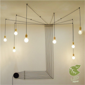 Люстра-паук Lussole Loft Fairbanks GRLSP-9554, IP21, 8xE27x10W, золото, черный, керамика, металл