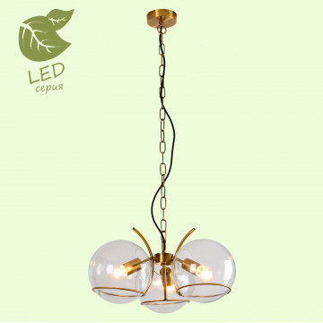 Подвесная люстра Lussole Loft Anchorage GRLSP-9556, IP21, 3xE27x10W, бронза, прозрачный, металл, стекло