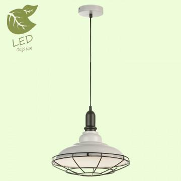 Подвесной светильник Lussole Loft Binghamton GRLSP-9848, IP21, 1xE27x10W, белый, черно-белый, металл, металл со стеклом