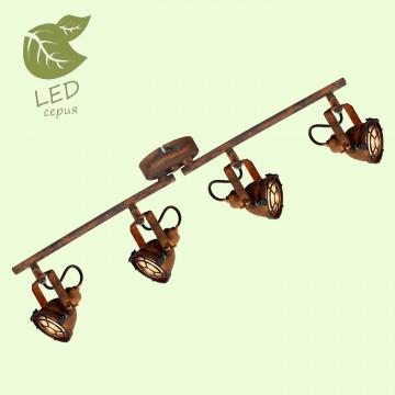 Потолочный светильник с регулировкой направления света Lussole Loft Rockville GRLSP-9803, IP21, 4xGU10x5,5W, коричневый, металл
