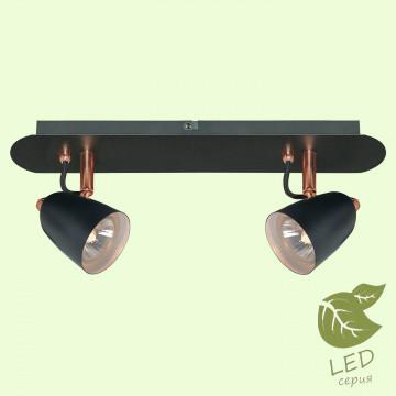 Потолочный светильник с регулировкой направления света Lussole Loft New Frontino GRLSP-9852, IP21, 2xGU10x5,5W, медь, черный, металл