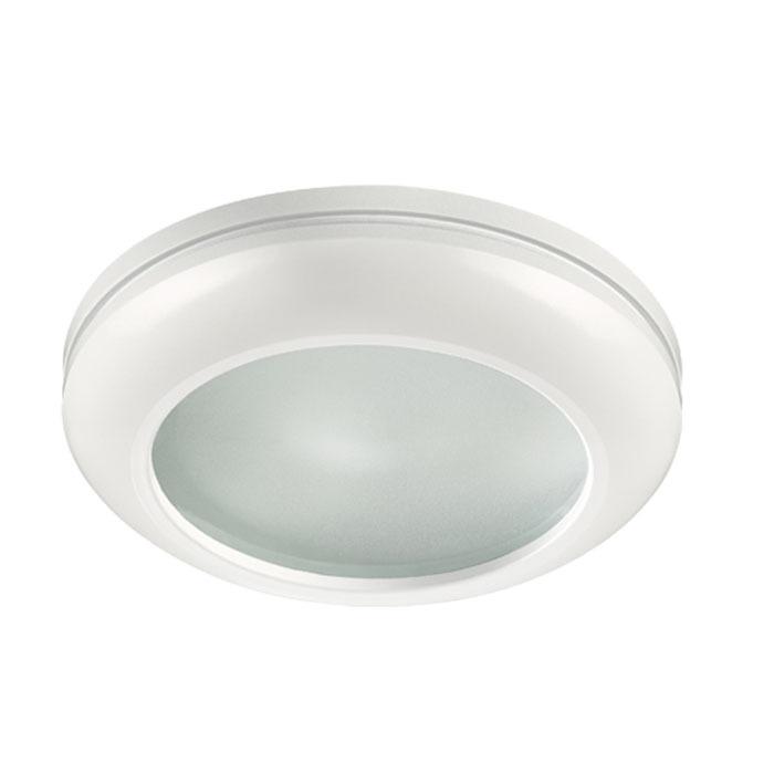 Встраиваемый светильник Novotech Damla 370387, IP44, 1xGU5.3x50W, белый, металл, стекло - фото 1