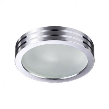 Встраиваемый светильник Novotech Damla 370388, IP44, 1xGU5.3x50W, хром, металл, стекло