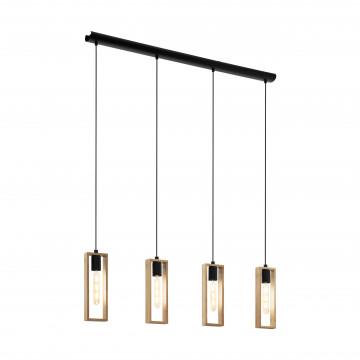 Подвесной светильник Eglo Trend & Vintage Loft Littleton 49475, 4xE27x60W, черный, коричневый, металл, дерево
