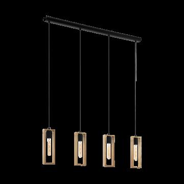Подвесной светильник Eglo Littleton 49475, 4xE27x60W, черный, коричневый, металл, дерево