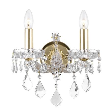 Бра Dio D'Arte Diamante E 2.1.2.200 G, 2xE14x40W, прозрачный с золотом, прозрачный, стекло, хрусталь