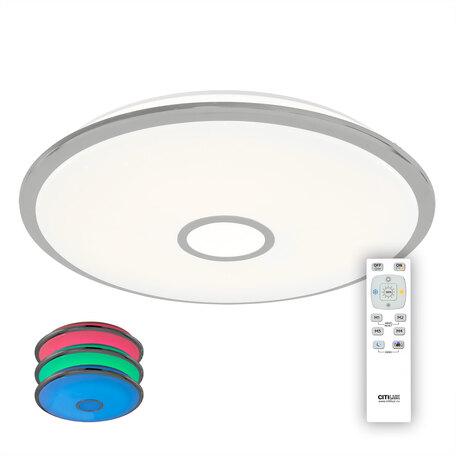 Потолочный светодиодный светильник с пультом ДУ Citilux Старлайт CL703100mRB, LED 100W 3000-4500K + RGB 7000lm, белый, хром, металл, металл с пластиком