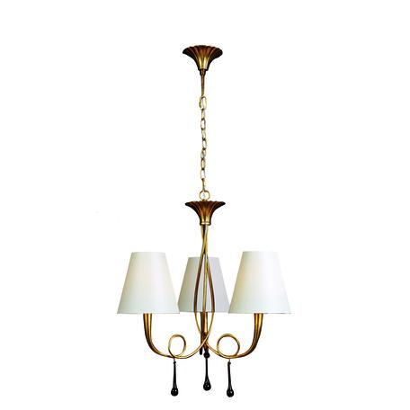 Подвесная люстра Mantra Paola 3542, матовое золото, белый, черный, металл, текстиль, стекло