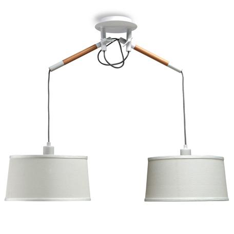 Подвесной светильник Mantra Nordica II 4930, белый, коричневый, дерево, металл, текстиль
