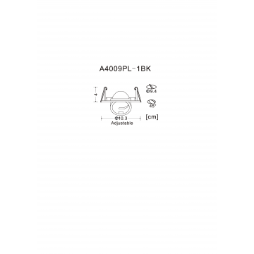 Схема с размерами Arte Lamp Instyle A4009PL-1BK