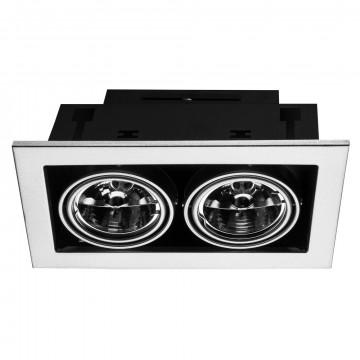 Встраиваемый светильник Arte Lamp Instyle Cardani Medio A5930PL-2SI, 2xG53AR111x50W, черный, серебро, металл