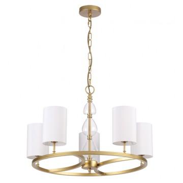 Подвесная люстра Odeon Light 3802/5, золото, прозрачный, белый, металл, стекло, текстиль
