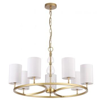 Подвесная люстра Odeon Light 3802/7, золото, прозрачный, белый, металл, стекло, текстиль