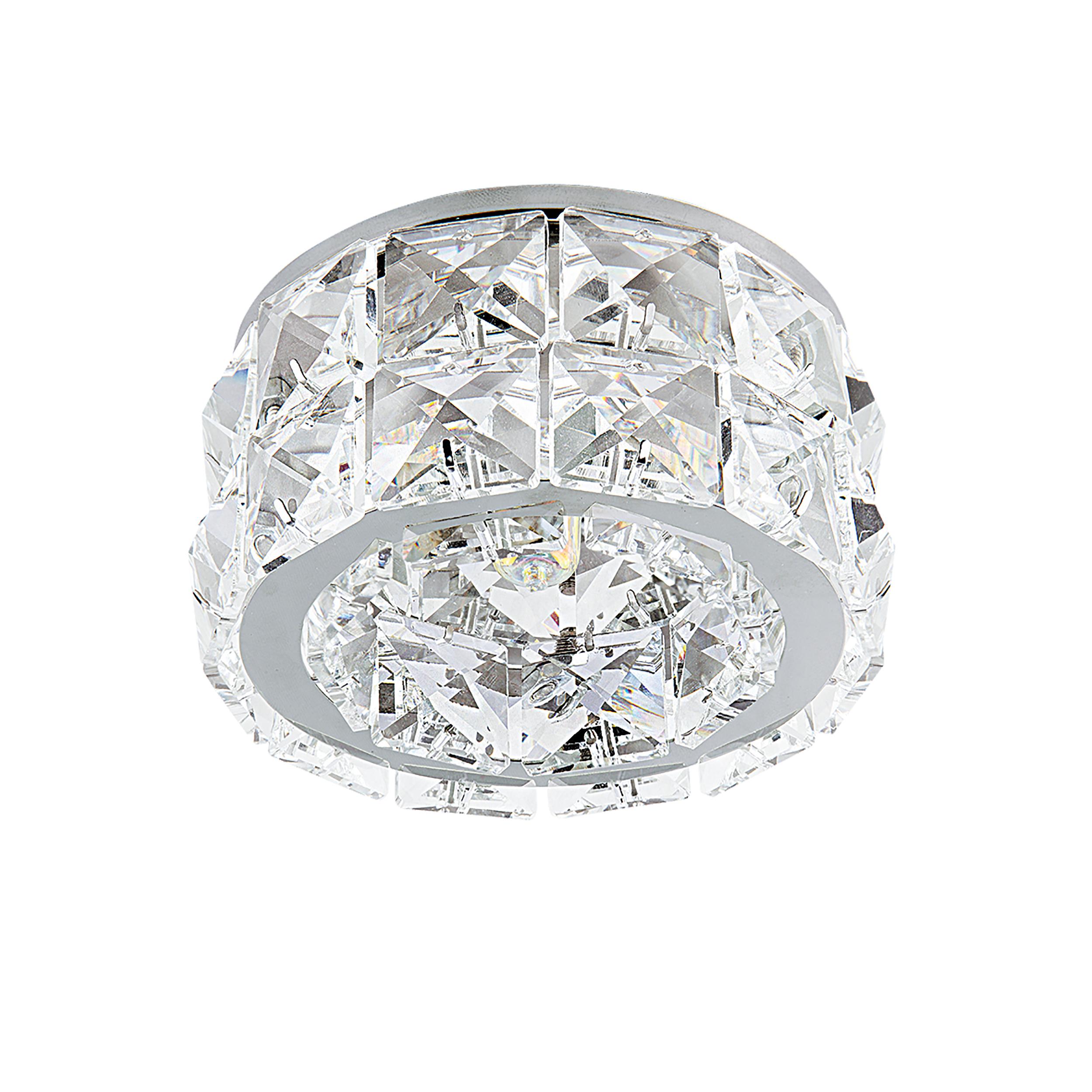 Встраиваемый светильник Lightstar Onda Grande 032804, 1xGU5.3x50W, хром, прозрачный, металл, хрусталь - фото 1