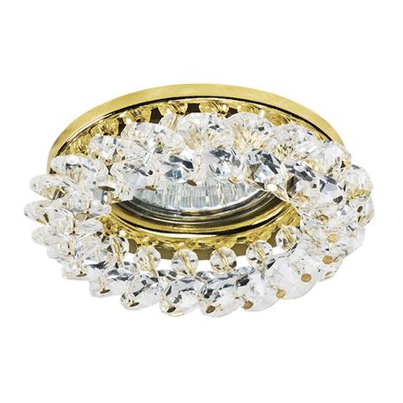 Встраиваемый светильник Lightstar Onora 030302, 1xGU5.3x50W, золото, прозрачный, металл, стекло
