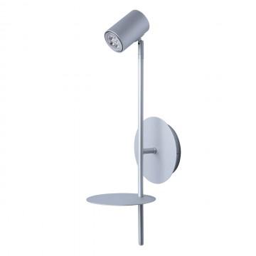 Настенный светильник с регулировкой направления света с полкой De Markt Платлинг 661022401, 1xGU10x5W 4000K (дневной), серебро, металл