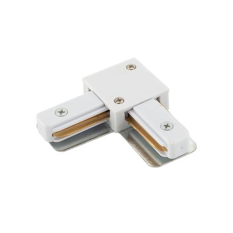 L-образный соединитель для шинопровода Denkirs DK Track White TR1102-WH, белый, металл