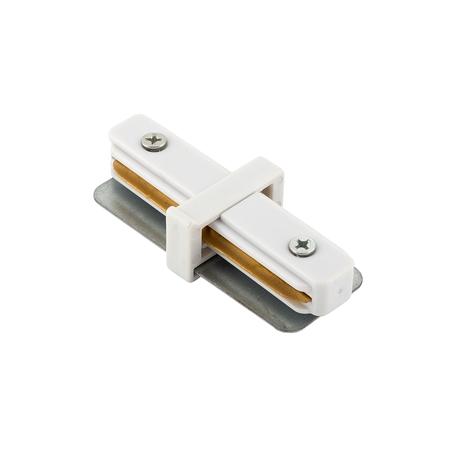 Прямой соединитель для шинопровода Denkirs DK Track White TR1101-WH, белый, металл