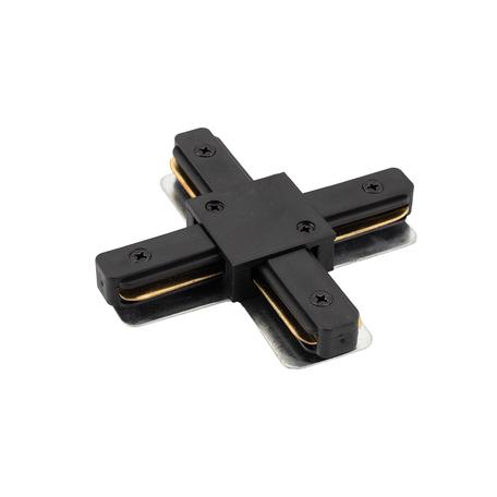 X-образный соединитель для шинопровода Denkirs DK Track Black TR1104-BK, черный, металл