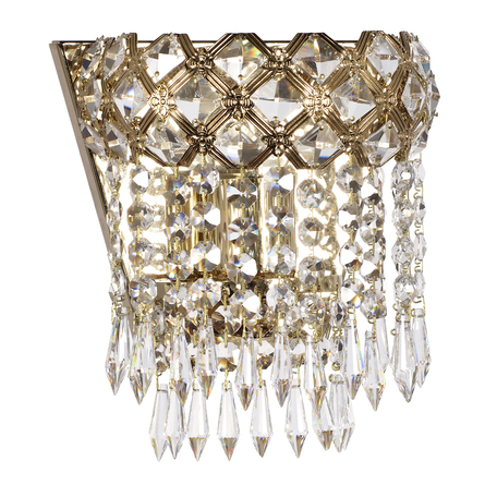 Бра Arti Lampadari Asti E 2.10.100 G, 1xE27x60W, золото, прозрачный, металл, хрусталь