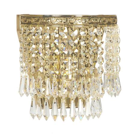 Бра Arti Lampadari Nonna E 2.10.501 G, 1xE27x60W, золото, прозрачный, металл, хрусталь