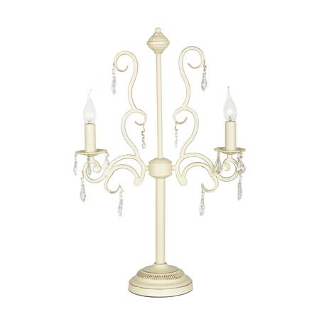 Настольная лампа Arti Lampadari Gioia E 4.2.602 CG, 2xE14x40W, бежевый, прозрачный, металл, хрусталь