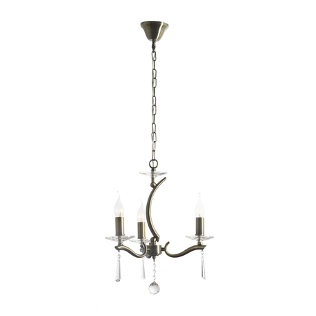 Подвесная люстра Arti Lampadari Monti E 1.1.3 A, 3xE14x40W, бронза, прозрачный, металл, стекло, хрусталь