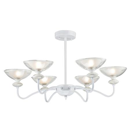 Потолочная люстра Arti Lampadari Fassano E 1.1.6 W, 6xE14x40W, белый, прозрачный, металл, стекло