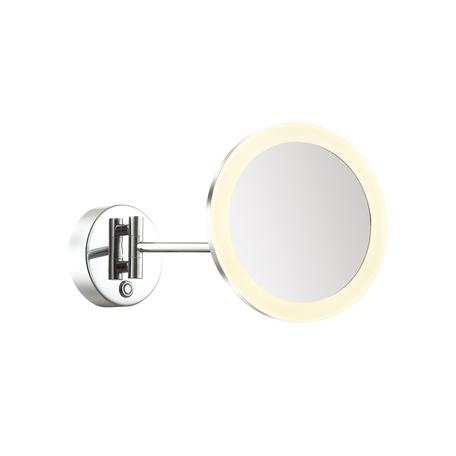 Косметическое зеркало со светодиодной подсветкой и увеличением Odeon Light Drops Mirror 4678/6WL, IP44, LED 6W 3000K 90lm, хром, металл с пластиком