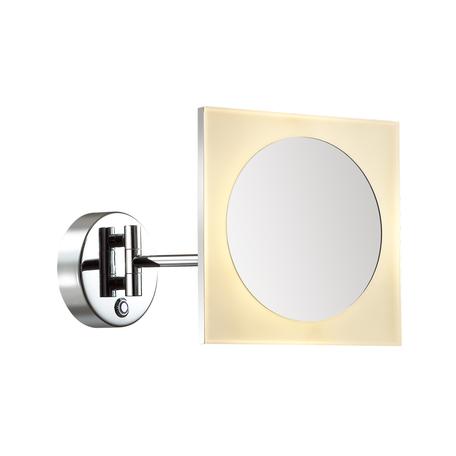 Косметическое зеркало со светодиодной подсветкой и увеличением Odeon Light Drops Mirror 4679/6WL, IP44, LED 6W 3000K 90lm, хром, металл с пластиком