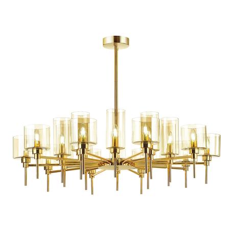 Люстра на составной штанге Odeon Light Modern Diatra 4689/20, 20xE14x40W, золото, янтарь, металл, стекло
