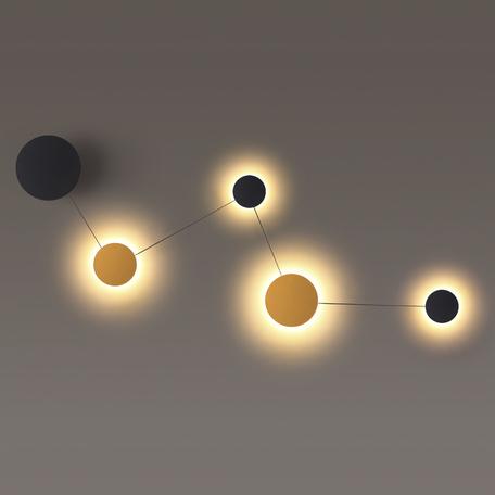 Настенный светодиодный светильник Odeon Light Hightech Galaxy 4211/38WL, LED 38W 3000K 1920lm, матовое золото, черный, металл