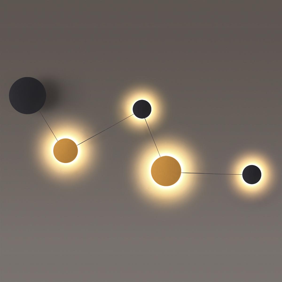Настенный светодиодный светильник Odeon Light Hightech Galaxy 4211/38WL, LED 38W 3000K 1920lm, черный с золотом, матовое золото с черным, металл - фото 1