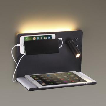 Настенный светодиодный светильник с регулировкой направления света с дополнительной подсветкой с полкой Odeon Light Smart Shelf 4201/11WL, LED 11W 3200K 880lm - миниатюра 3