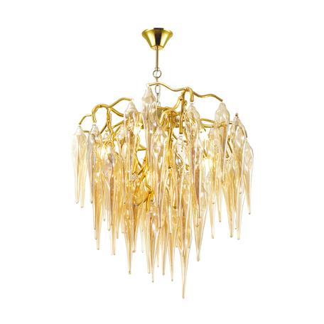 Подвесная люстра Odeon Light Classic Foscara 4718/5, 5xG9x40W, золото, янтарь, металл, стекло