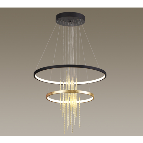 Подвесной светодиодный светильник Odeon Light L-Vision Monica 3901/63L, LED 63W 4000K 2340lm, черный, янтарь, металл, стекло