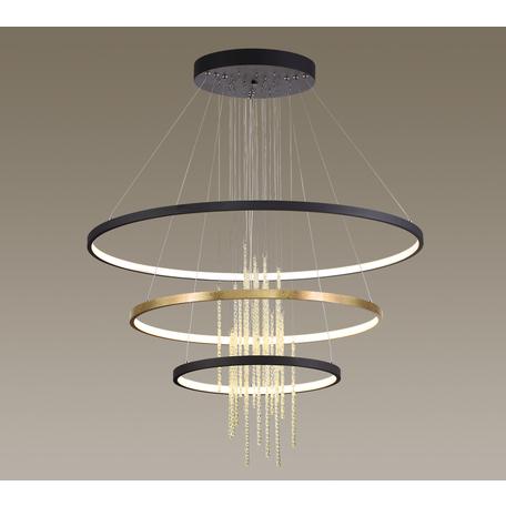 Подвесной светодиодный светильник Odeon Light Monica 3901/99L, LED 113W 4000K 3200lm, черный, янтарь, металл, стекло