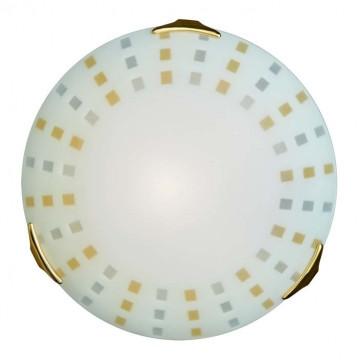 Потолочный светильник Sonex Quadro Ambra 263, 2xE27x100W, золото, белый, желтый, металл, стекло