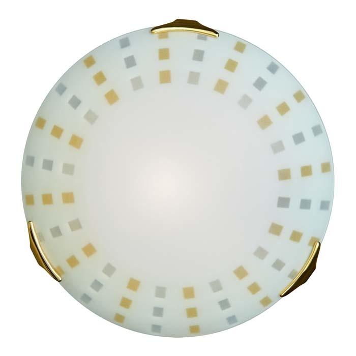 Потолочный светильник Sonex Quadro Ambra 263, 2xE27x100W, золото, белый, желтый, металл, стекло - фото 1