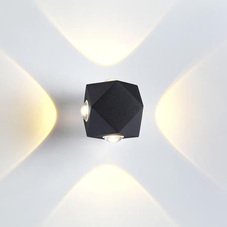 Настенный светодиодный светильник Odeon Light Hightech Diamanta 4218/8WL, IP54, LED 8W 3200K 716lm, черный, металл
