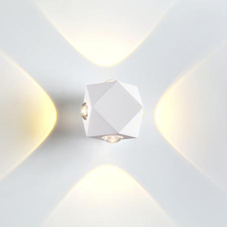 Настенный светодиодный светильник Odeon Light Hightech Diamanta 4219/8WL, IP54, LED 8W 3200K 732lm, белый, металл