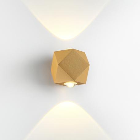 Настенный светодиодный светильник Odeon Light Hightech Diamanta 4220/4WL, IP54, LED 4W 3200K 358lm, матовое золото, металл