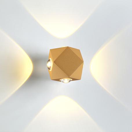 Настенный светодиодный светильник Odeon Light Hightech Diamanta 4220/8WL, IP54, LED 8W 3200K 724lm, матовое золото, металл