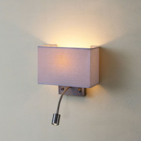 Бра с дополнительной подсветкой Citilux Декарт CL704303, 1xE14x60W 3000K (теплый), бронза, бежевый, металл, текстиль