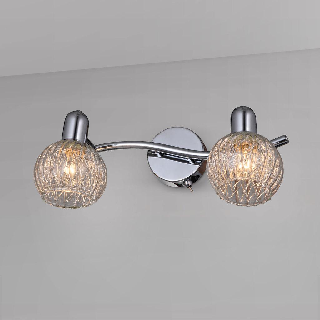 Настенный светильник с регулировкой направления света Citilux Попурри CL604521, 2xE14x60W, хром, белый, металл, стекло - фото 1