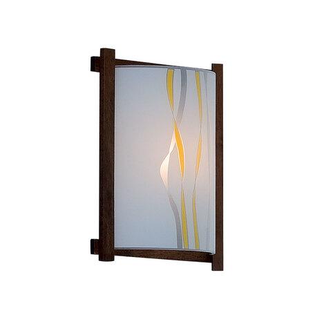 Настенный светильник Citilux Ленты CL921071R, 1xE27x100W, венге, желтый, дерево, стекло