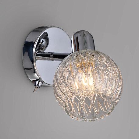 Настенный светильник с регулировкой направления света Citilux Попурри CL604511, 1xE14x60W, хром, прозрачный, металл, стекло
