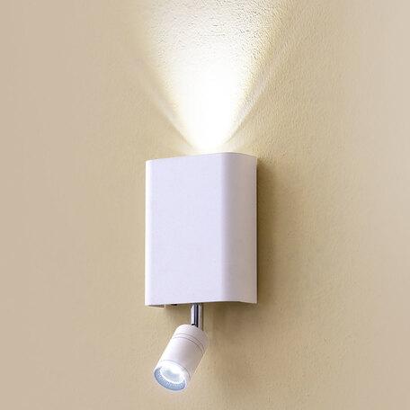 Настенный светодиодный светильник с регулировкой направления света с дополнительной подсветкой Citilux Декарт CL704410, LED 6W 3000K 450lm, белый, металл